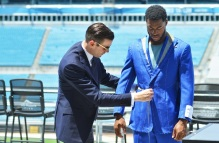 Huntsman's Head Cutter, Campbell, measures and pins Jacksonville Jaguars wide receivers Allen Hurns and Allen Robinson's custom suits Monday, August 1, 2016, in Jacksonville, Fla. (Rick Wilson/Rick Wilson Photography)
