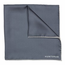 Grey 100% Printed Silk Hand Rolled Pocket Square £65